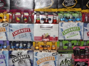 Six-packs of Smirnoff Ice