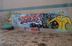 Graffitti outside High School in the Community. Photo by Jacque Feldman