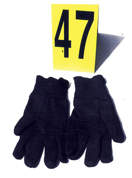 Pair of gloves with evidence marker